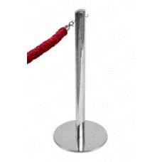 Мобильная стойка ограждения LUX с кольцами под канат, зеркальная