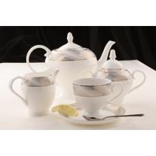 Чайный сервиз Платина, костяной фарфор, 15 предметов