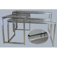 Комплект фуршетных столов  «Тройка» со стеклянной столешницей
