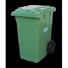 Контейнер для мусора 360 л с крышкой на колесах 200 мм (Зеленый)