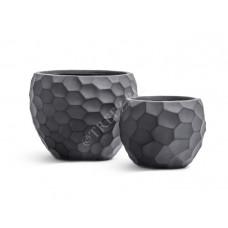 Кашпо TREEZ Ergo Comb Полусфера Дымчато-серый бетон в-24 см, д-31 см