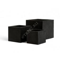 Кашпо TREEZ Ergo Cork Куб Антрацит в-26,5 см, ш-30х30 см