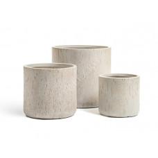 Кашпо TREEZ Ergo Cork Цилиндр Белый песок в-25 см, д-26 см