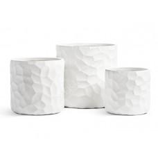 Кашпо TREEZ Ergo Comb Цилиндр Белый камень в-30 см, д-30 см