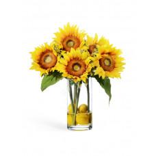Подсолнухи с лимонами в стекле с водой 38 см 1/4