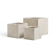 Кашпо TREEZ Ergo Cork Куб Белый песок в-22 см, ш-24х24 см