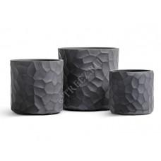 Кашпо TREEZ Ergo Comb Цилиндр Дымчато-серый бетон в-36 см, д-36 см